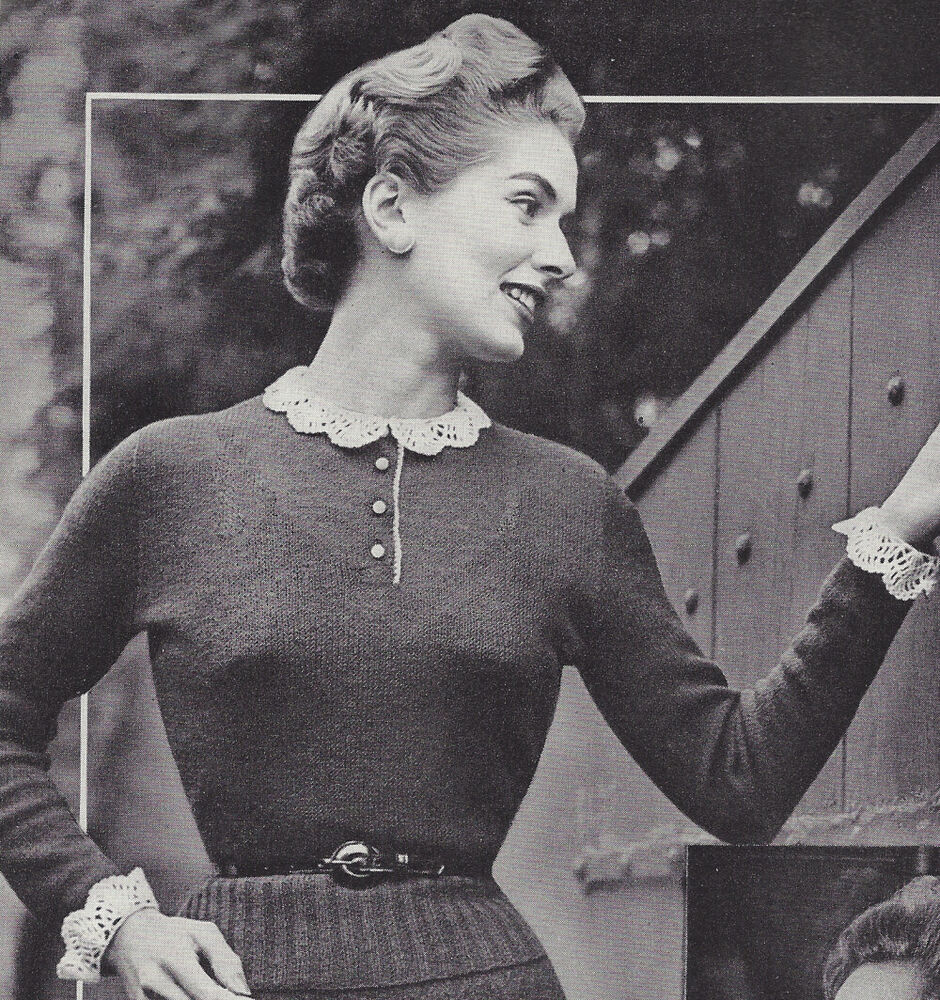 Old Knitting Pictures : Vintage knitting pattern to make delicate knit blouse