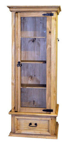 Solid Wood Curio Cabinet With Lockable Hidden Gun Storage