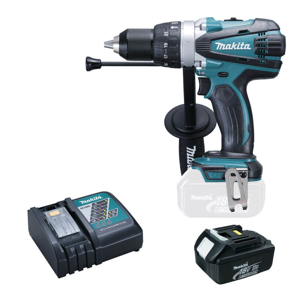 Makita 18v lxt bhp458 bhp458z combi drill bl1830 battery and dc18rc charger ebay - Batterie makita 18v ...