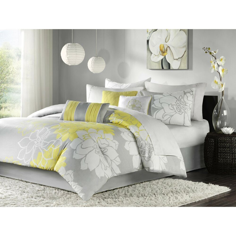 beautiful elegant chic white grey gray yellow texture girls modern comforter set ebay. Black Bedroom Furniture Sets. Home Design Ideas
