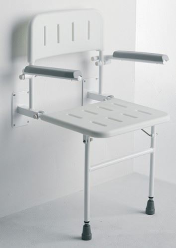 Wall Mounted Fold Away Shower Seat Bathroom Stool With Backrest Arms Ebay