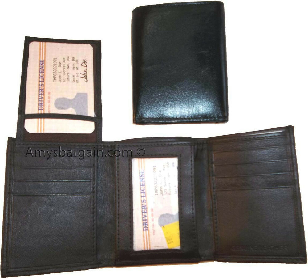 New top quality leather trifold man 39 s wallet 6 card holder for 2 id window wallet
