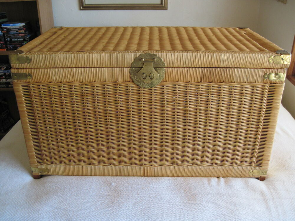 Auto Antique Wicker Trunks : Vintage early s wicker trunk chest in vgc
