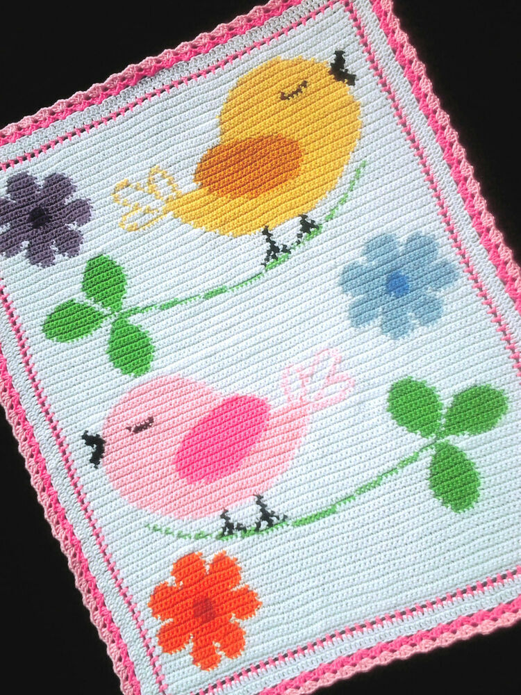 Free Crochet Baby Blanket Graph Patterns : BIRDS AND FLOWERS Color Graph Baby Afghan Pattern eBay