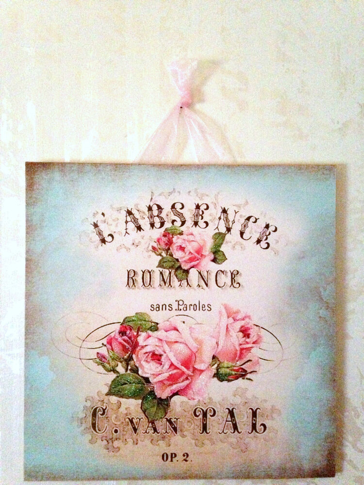 vintage paris shabby romance rose wall decor sign plaque french country chic ebay. Black Bedroom Furniture Sets. Home Design Ideas
