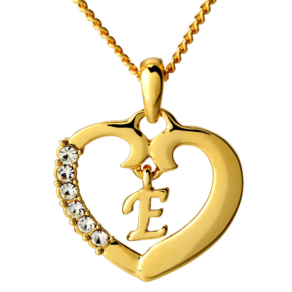 heart necklace letter 39 e 39 18k gold plated jewelry gifts. Black Bedroom Furniture Sets. Home Design Ideas
