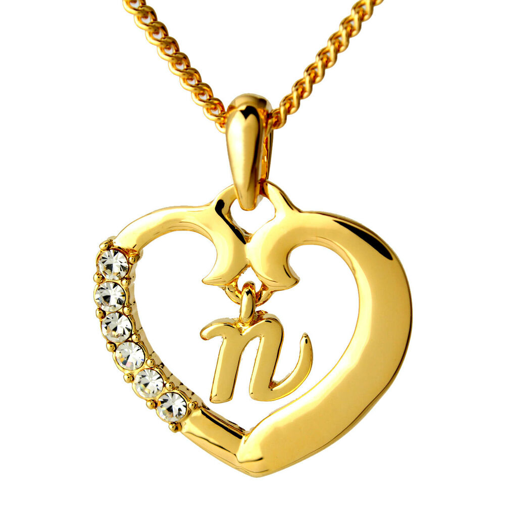 Name Necklace Heart Pendant Alphabet N 18ct Gold Plated ...