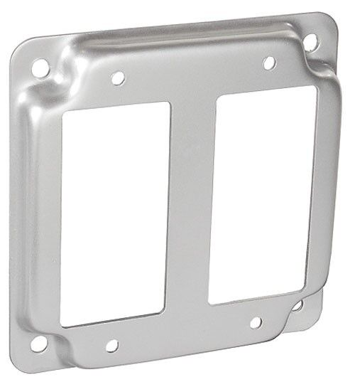 "Decorative Cover For Breaker Panel: 4"" Square Electrical Box Cover 2 GFCI Decorator Receptacle"