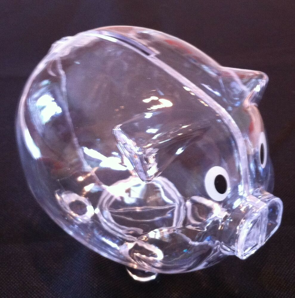 New Clear Piggy Bank Coin Money Plastic Still Savings Toy