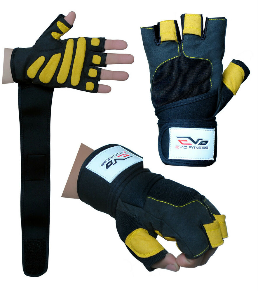 Gym Gloves Weight Lifting Leather Workout Wrist Support: EVO Fitness Gym Gloves Weight Lifting Wrist Support Straps