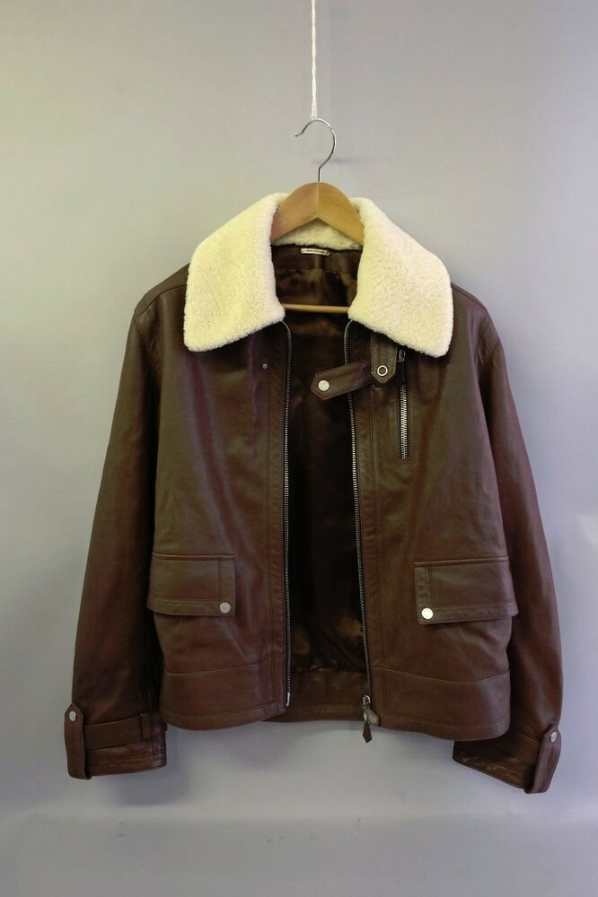 Nib Authentic Hermes Leather Bomber Jacket With Sheepskin