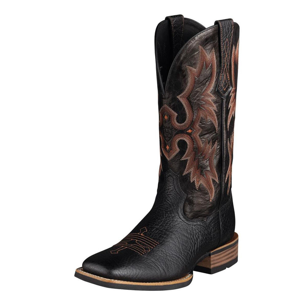 ariat s leather quot tombstone quot black wide square toe