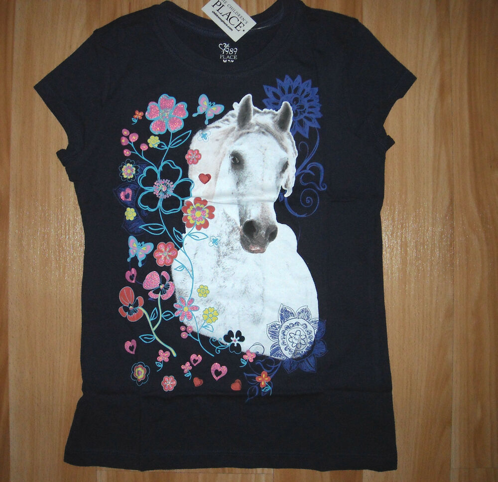 Wrangler Rock 47 >> Girls TCP HORSE Shirt~White HORSE~NWT~Navy Blue~Floral Too~Equine~Great 4 Gift~ | eBay