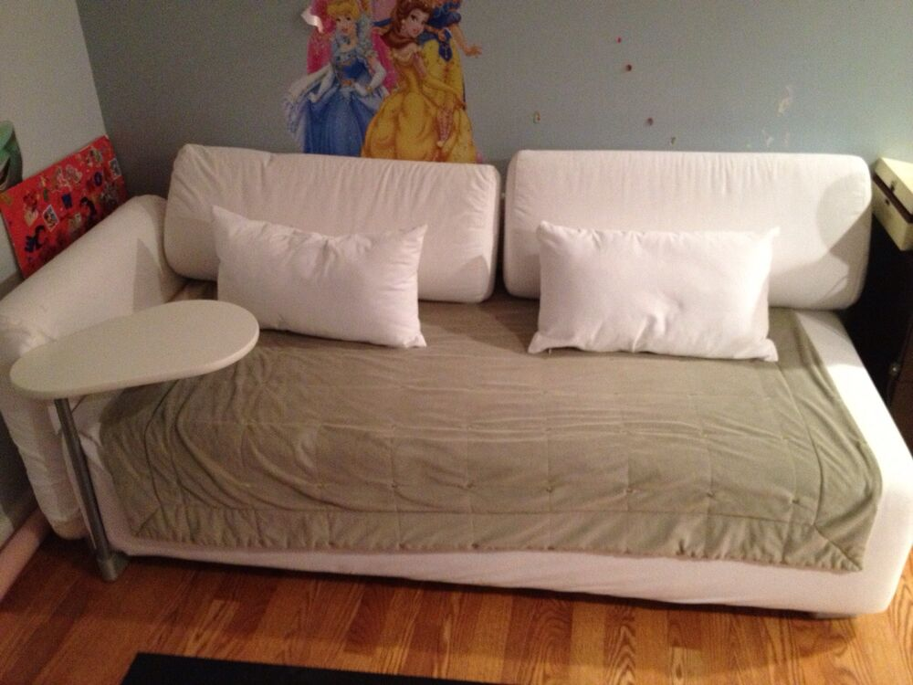 White ikea removable cover couch sofa chaise with table ebay for Table chaise ikea