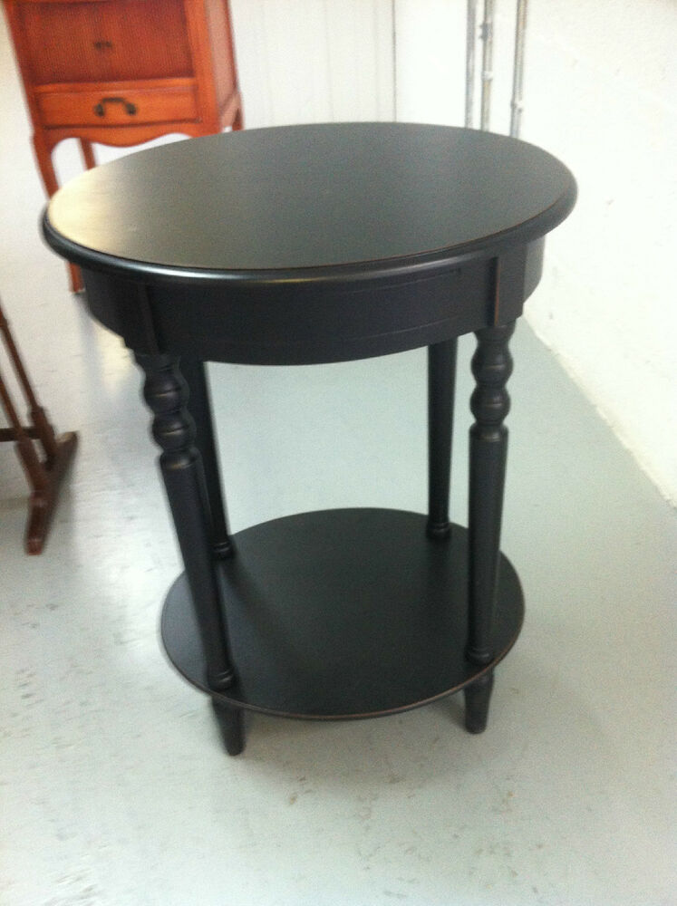 Small round black wood end table ebay for Small round wooden table