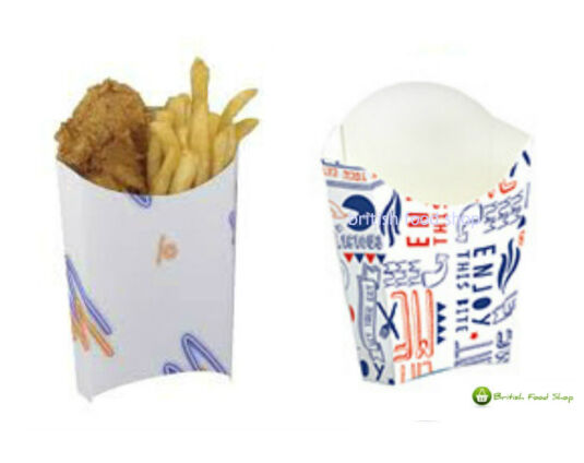 Large 7oz Disposable Takeaway Cardboard Chip Scoop Boxes