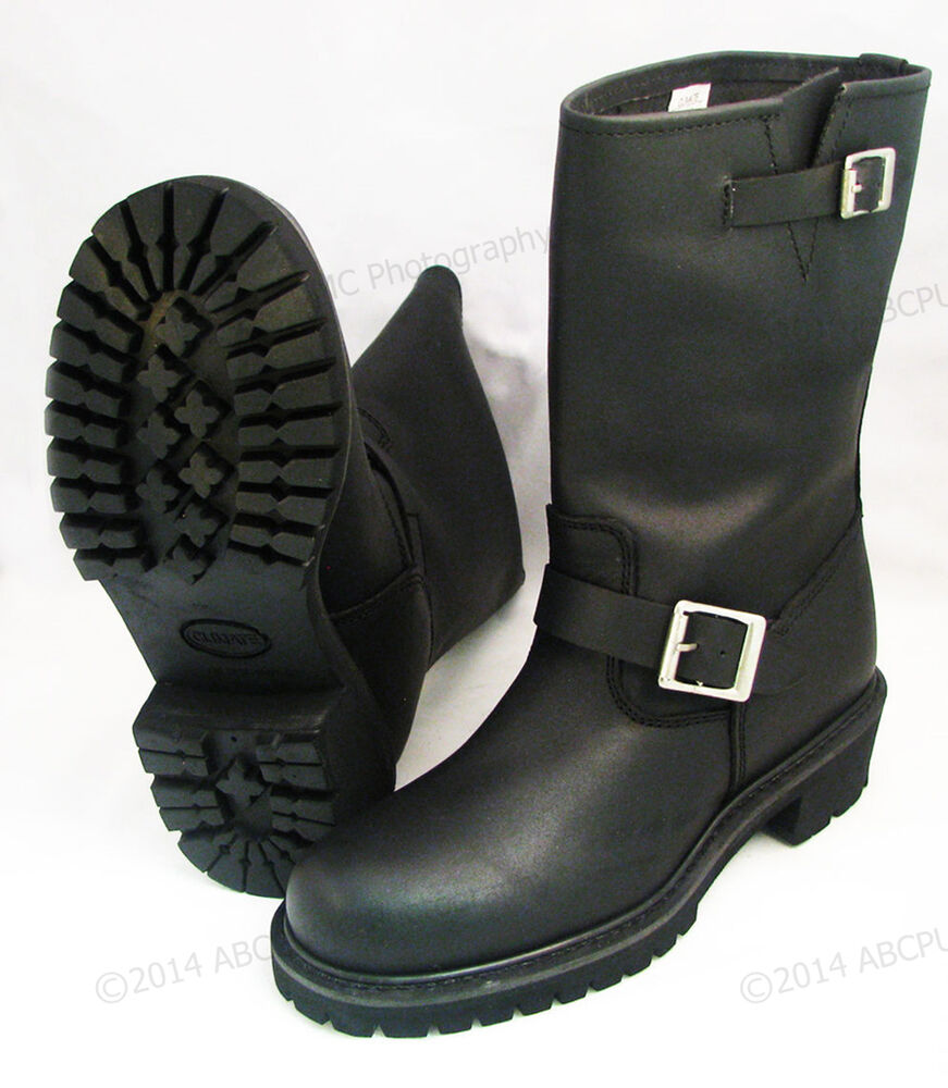s engineer boots motorcycle biker grain black