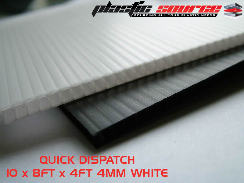10 X 4mm 8ft X 4ft 1220m X 2440mm White Correx Fluted