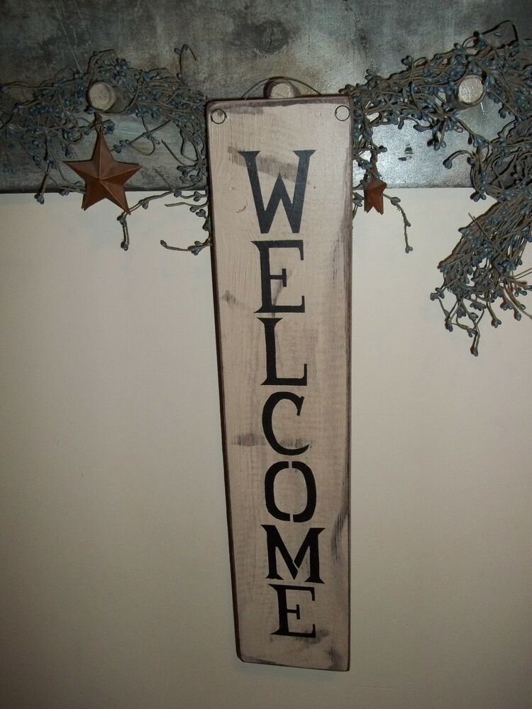 "Wood Sign WEL E ""Handmade"" Rustic Primitive Country Wood"