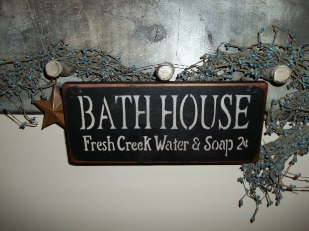 Wood Sign BATH HOUSE Country RusticPrim Home