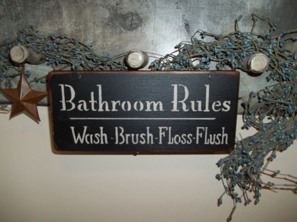 Wood sign bath room prim country distressed rustic wood for Room decor signs