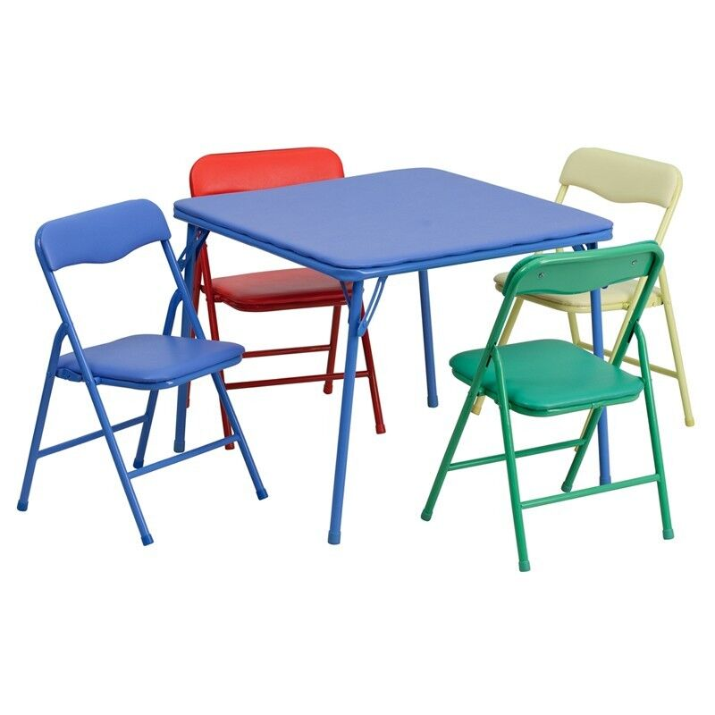 kids colorful 5 piece folding table and chair set ebay. Black Bedroom Furniture Sets. Home Design Ideas