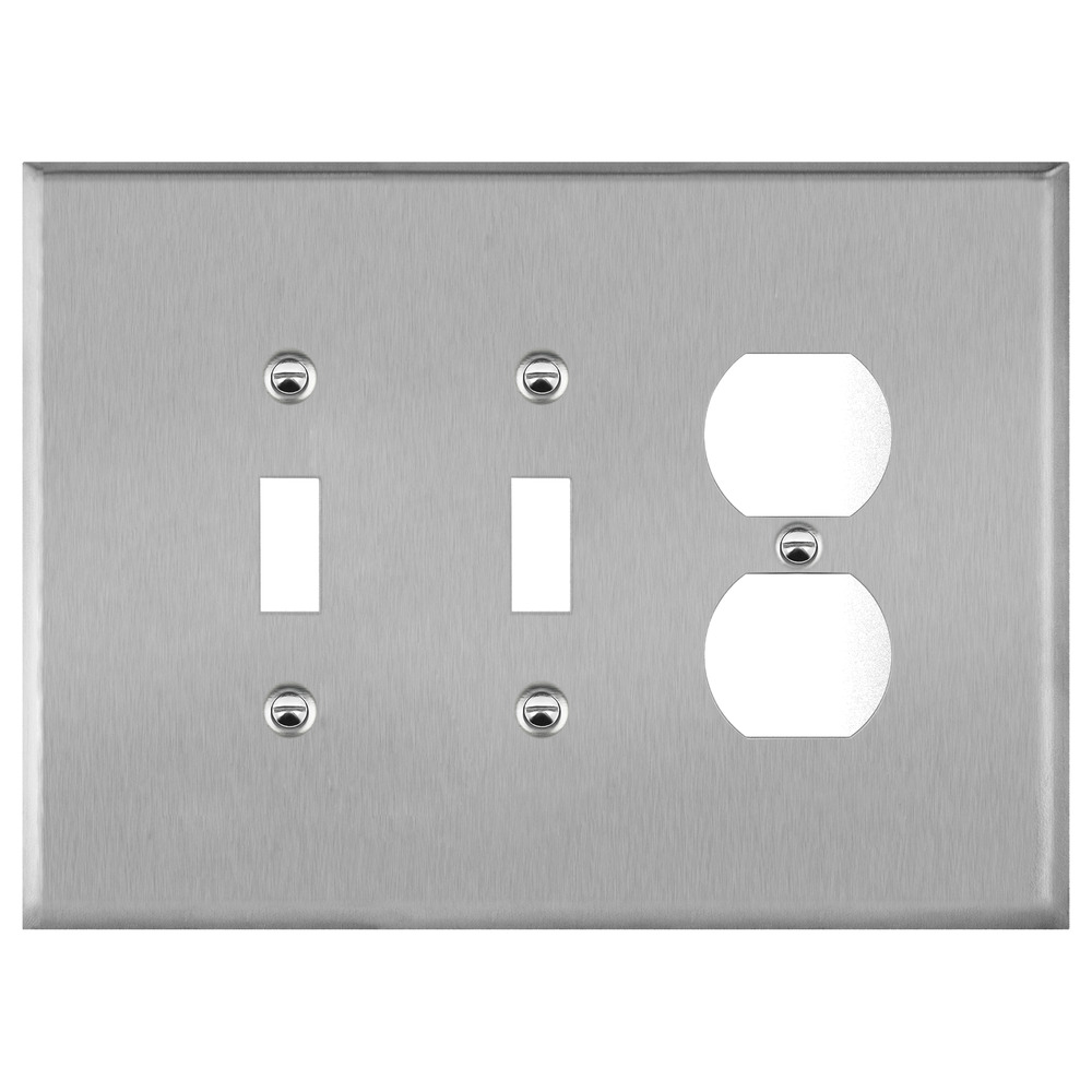 Wall Switch Plate Cover Oversized Stainless Steel 3 Gang 2