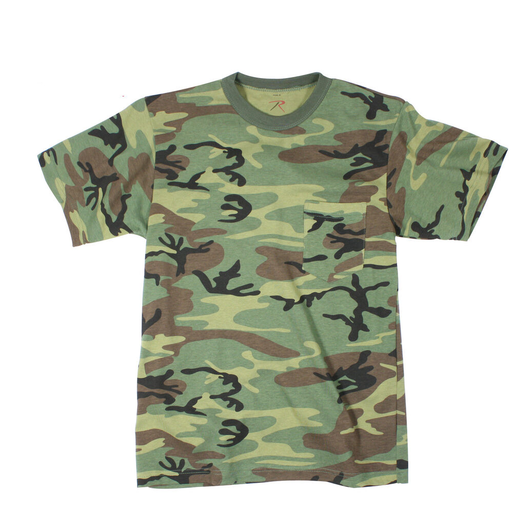 rothco 6667 woodland camouflage t shirt with pocket ebay. Black Bedroom Furniture Sets. Home Design Ideas