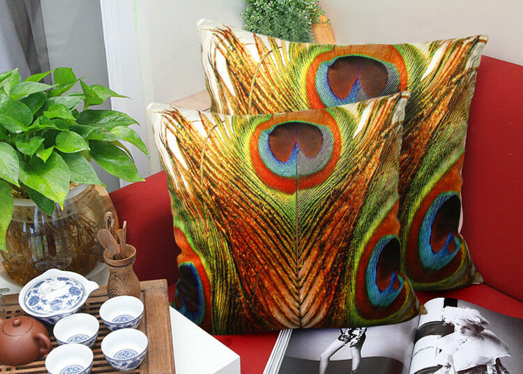 Square Velvet Throw Pillow Cushion Cover Peacock Feather