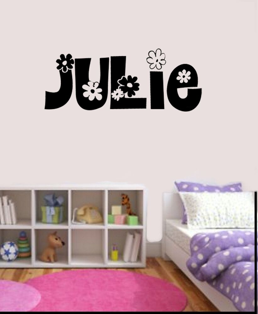 girls personalized flower name decal wall sticker bedroom 10729 | s l1000