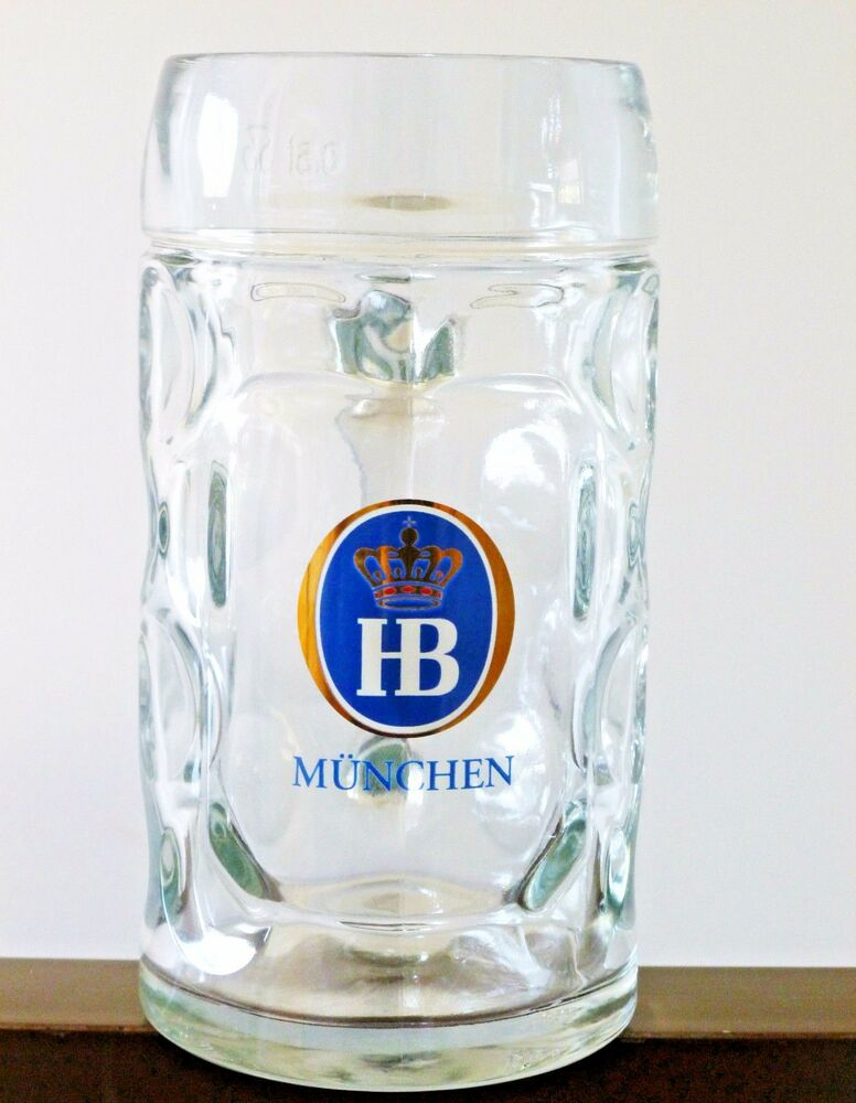 1 liter hb hofbrauhaus munchen dimpled glass beer stein mug hofbrau ebay. Black Bedroom Furniture Sets. Home Design Ideas