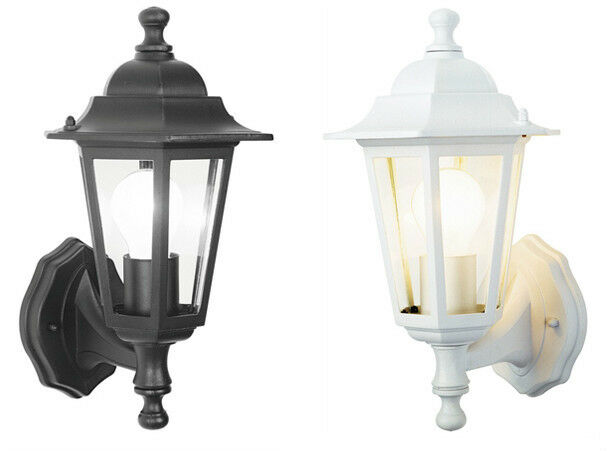 Outside Halogen Wall Lights : Outdoor Wall Lantern Outside Light Security Black or White 6 Sided Exterior Lamp eBay