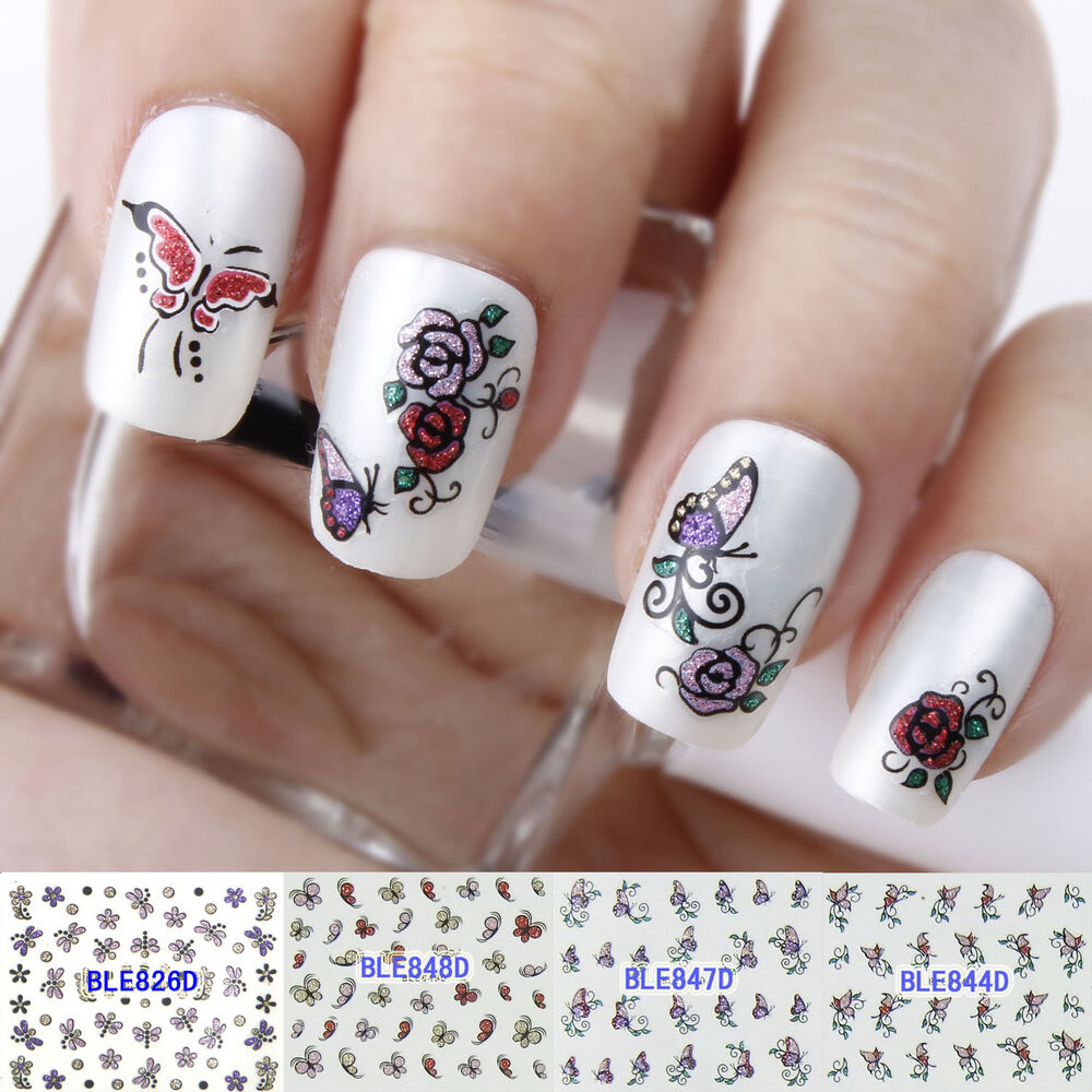 Nail Art Stickers: Glitter Butterfly Rose Flowers Hearts Bow 3D Nail Art