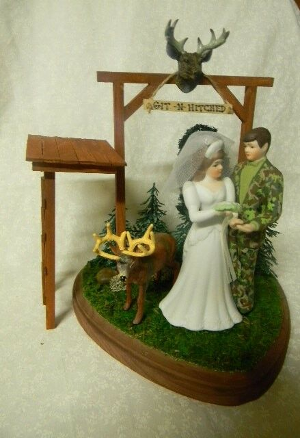 Wedding Party Reception Git N Hitched Camo Deer Hunter Cake Topper Tree Stand