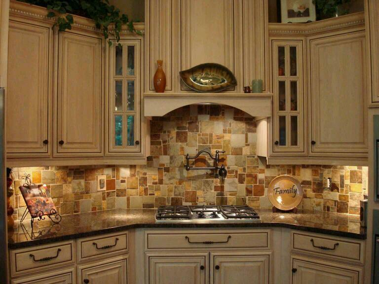 Travertine Stone Backsplash : Travertine slate mosaic random tile kitchen backsplash