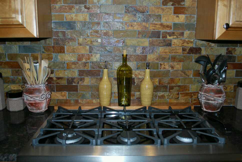 slate subway pattern mosaic stone tile kitchen backsplash