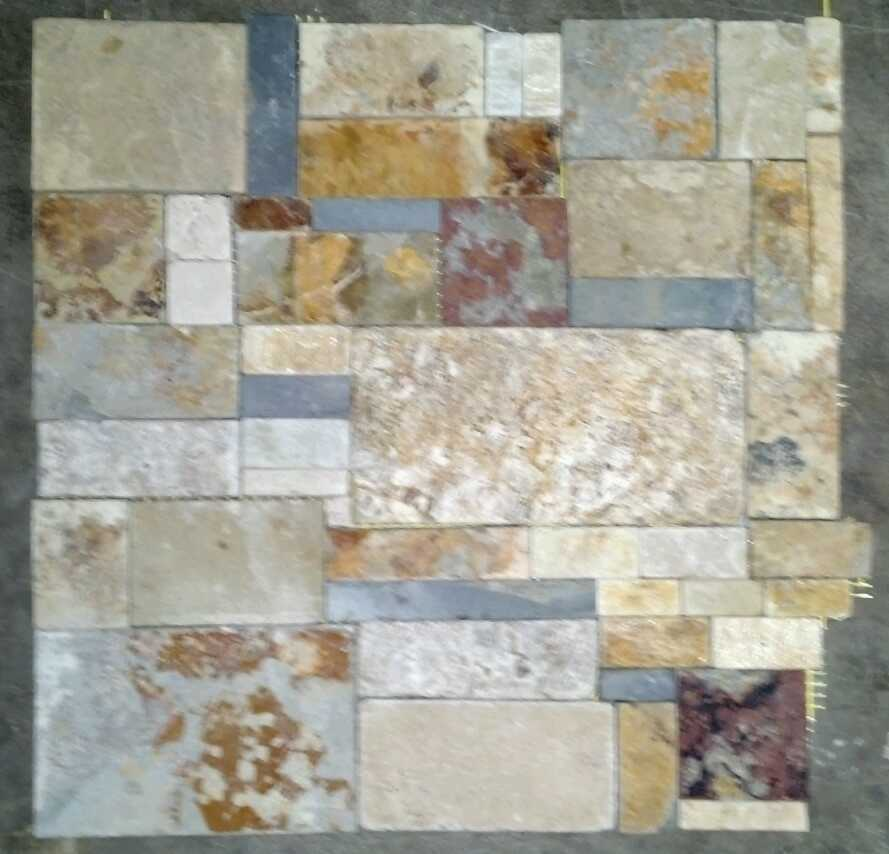 dry stack random slate mosaic tiles no grout joints wall backsplash
