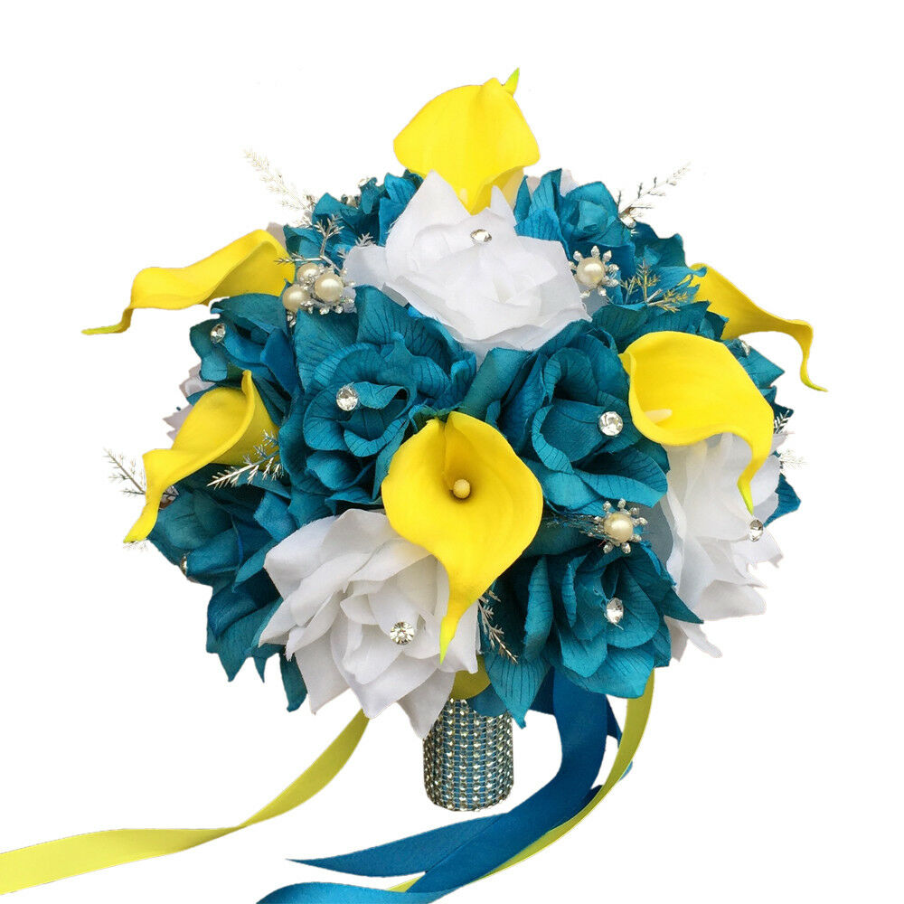 Turquoise Flowers For Wedding: Turquoise Yellow Bridal Bouquet-Silk Flower Bridal Wedding