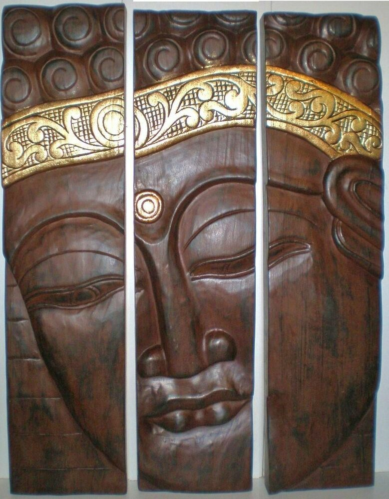 Bali piece buddha face head wood carving wall art