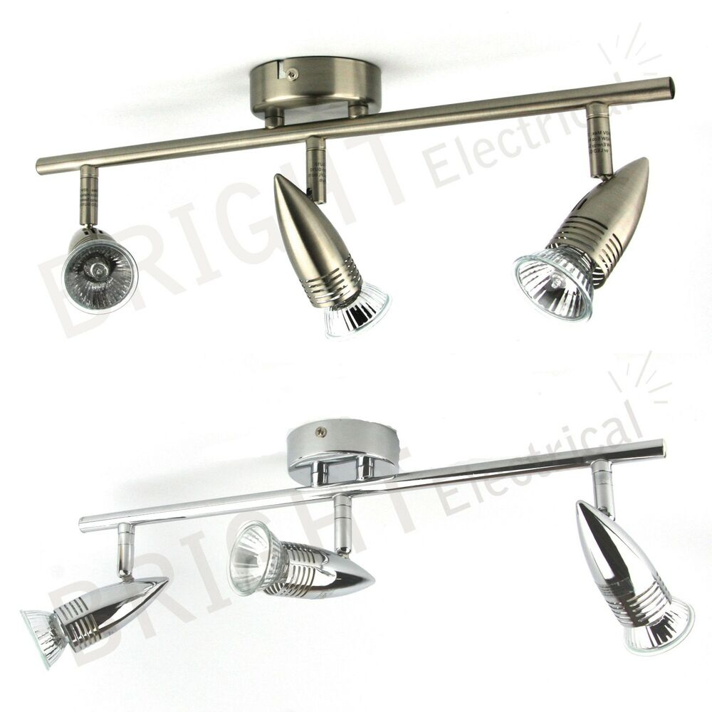 Ceiling Bar Light Fitting : Head spot light bar fitting triple ceiling gu