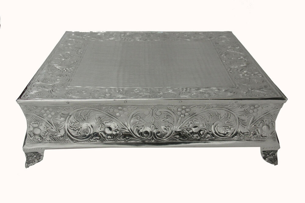 """GiftBay Wedding Silver Cake Stand Square 22"""" Built Strong"""