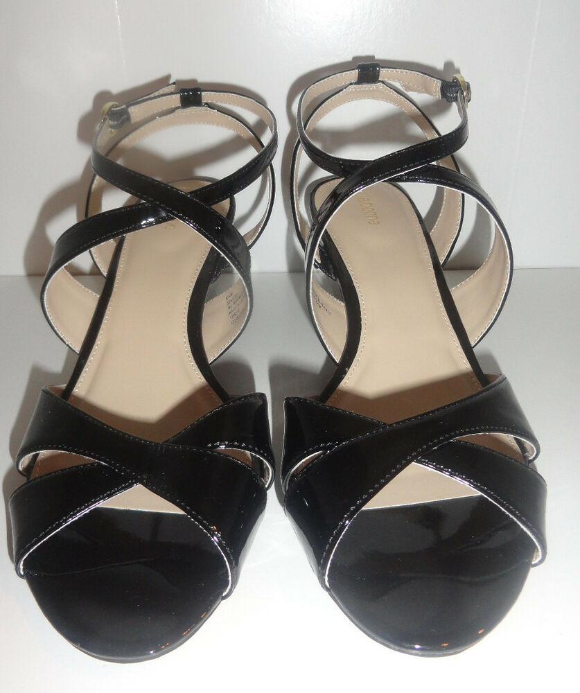 Ladies Liz Claiborne Erin Sandals High Gloss Black Strappy