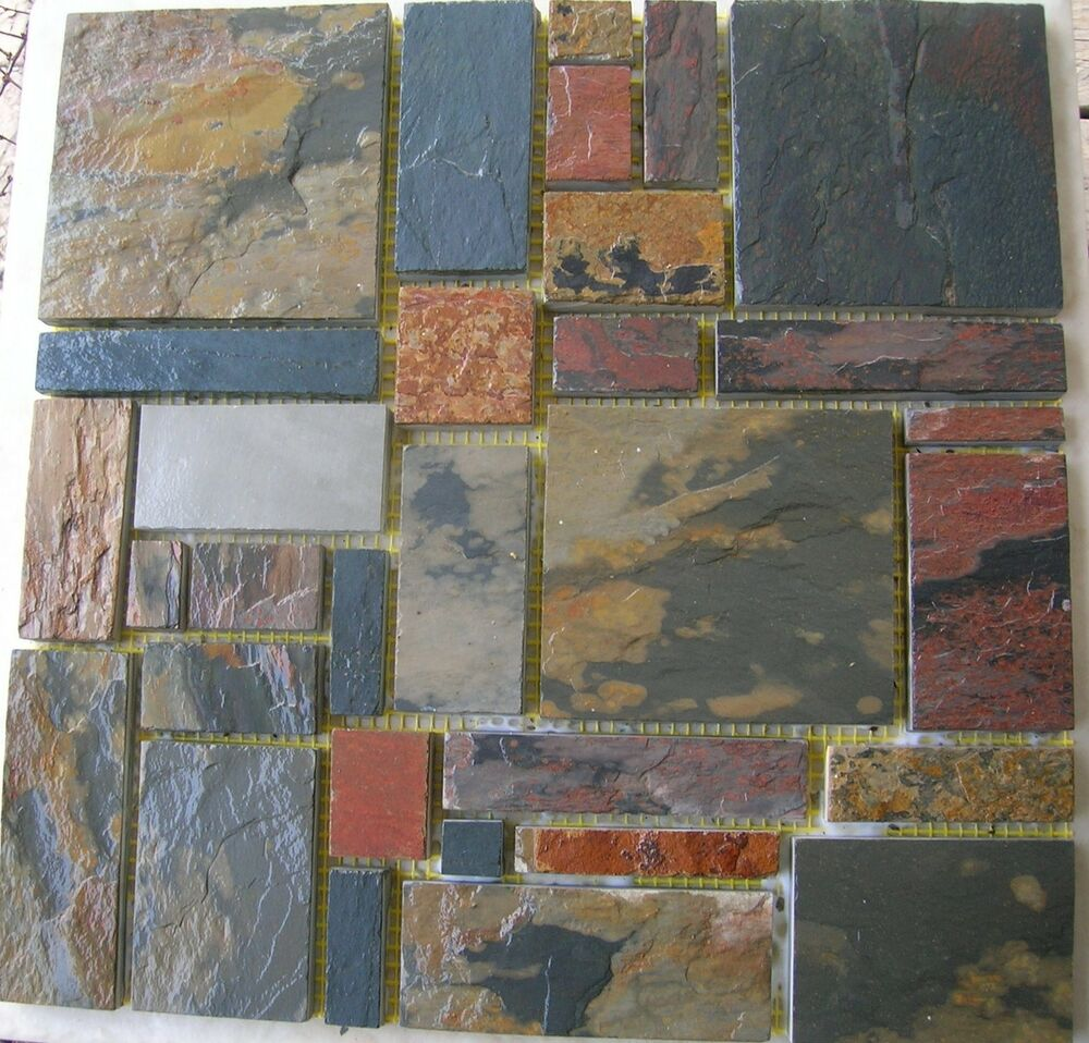 Slate stone mosaic random tiles kitchen backsplash free priority shipping ebay Backsplash mosaic tile