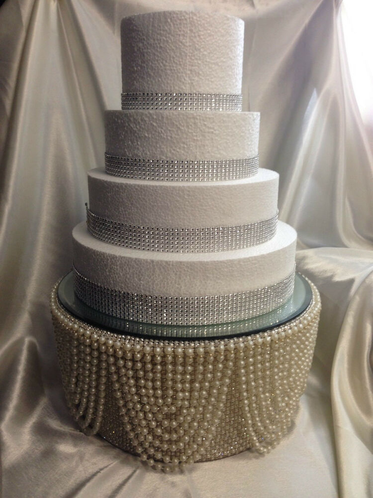 Pearl Amp Diamante Rhinestone Finish Tall Cake Stand For