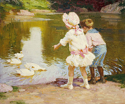Stunning oil painting children playing by the lake with for Oil painting for kids