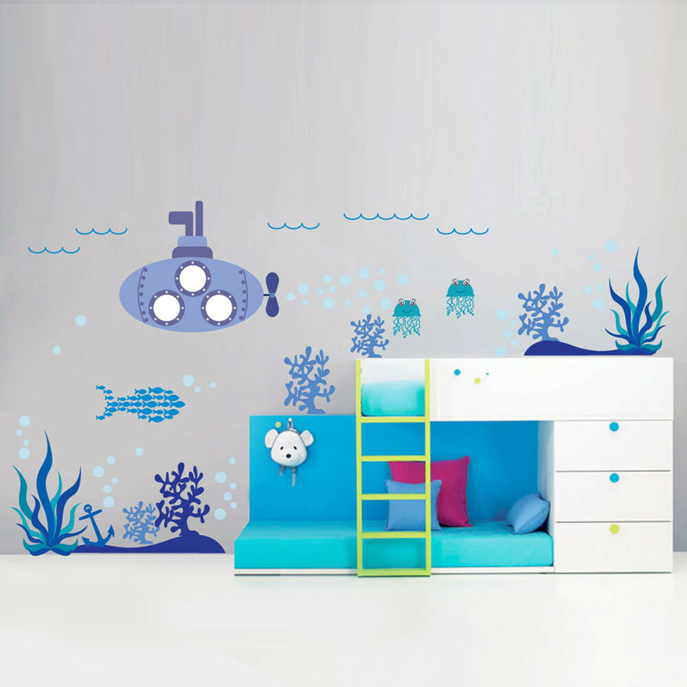 wall stickers mural decal paper art decoration sea ocean. Black Bedroom Furniture Sets. Home Design Ideas