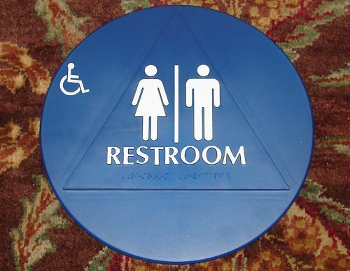 Unisex handicap braille restroom sign california compliant for Unisex handicap bathroom sign