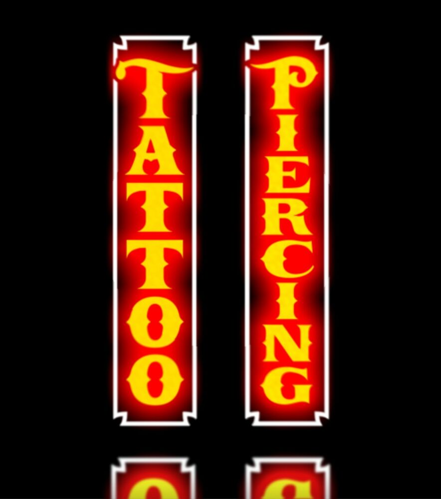 New led combo tattoo piercing parlor vertical orange for Neon tattoo signs