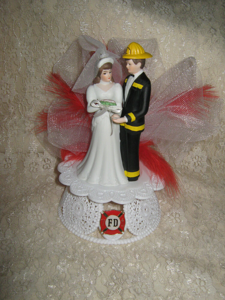 Fireman Firefighter CUSTOM PAINTED RED FEATHERS WEDDING ...