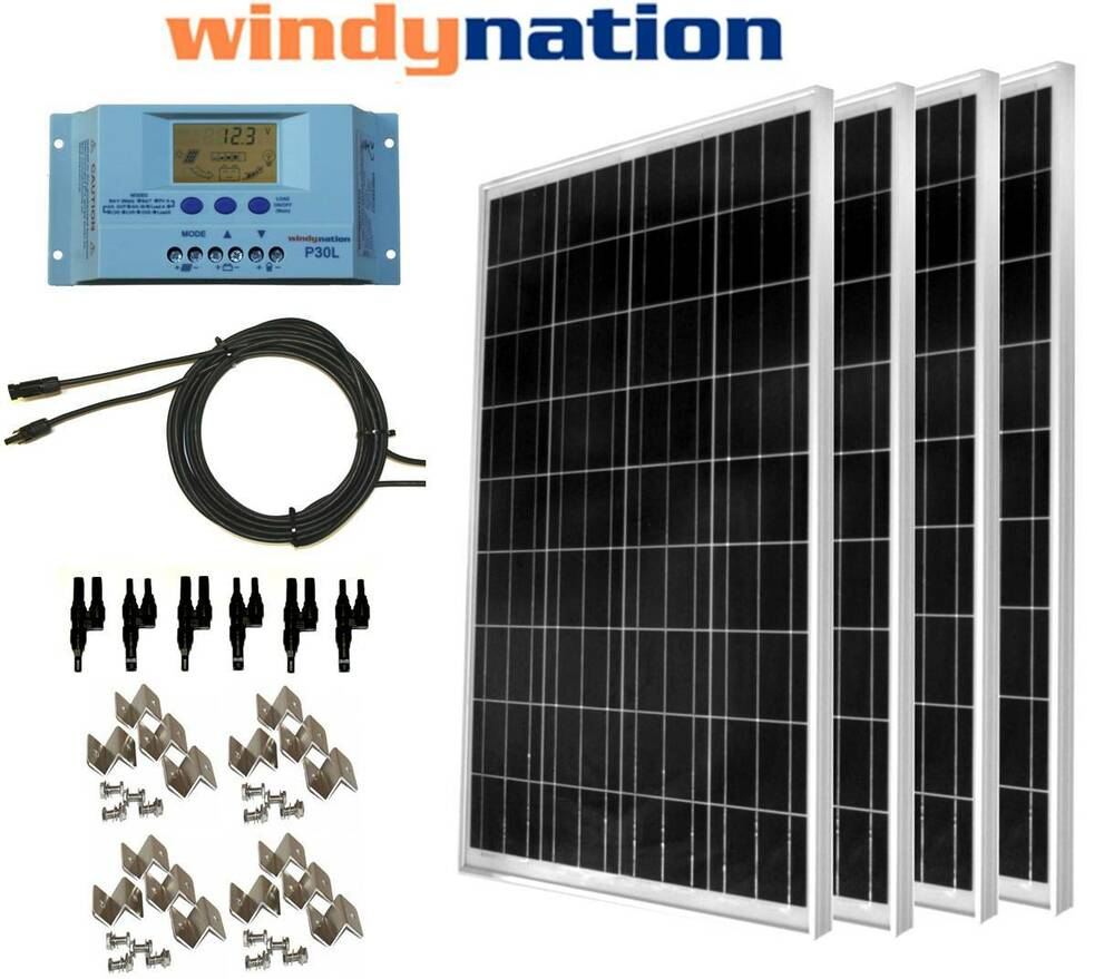 Complete Kit 400 Watt 400w Poly Solar Panel 12v 24v